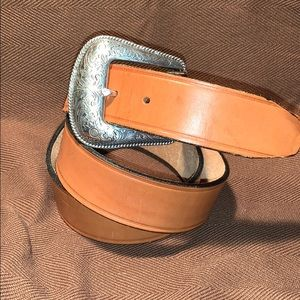 Made in USA flowery buckle handmade leather belt